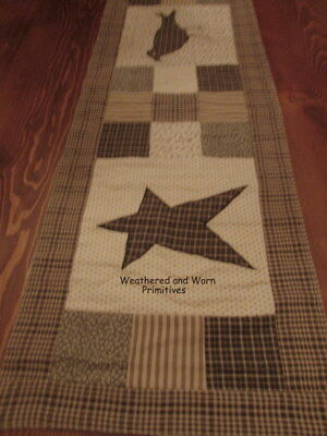 "Primitive Country Quilted Calico Table Runner 13"" x 36"" with Black Crow"