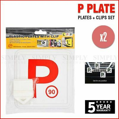 2x Red P Plate Clips Holder Set White Car Number License NSW L Green P1 P2 Free