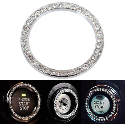 AUTO START ENGINE Button Key Bling Crystal Ring Sticker Car Accessories  Gift DIY