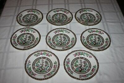 8 Aynsley Indian Tree Bread and Butter Plates Scalloped Green Trim Gold Key 6.25