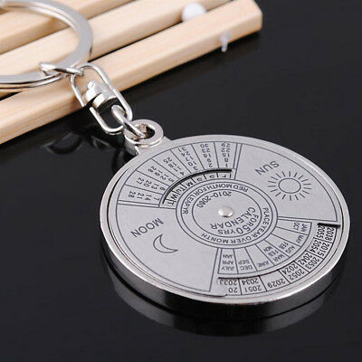 50 years perpetual Calendar Keyring Unique Compass Metal KeyChain Mirror Gift 5Y