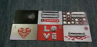 Chipotle 6 Gift Card Lot NO $ Value Collectible Only