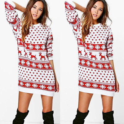 Fashion Women's Ladies Dress Xmas Christmas Print Long Sleeve Mini Party Dress