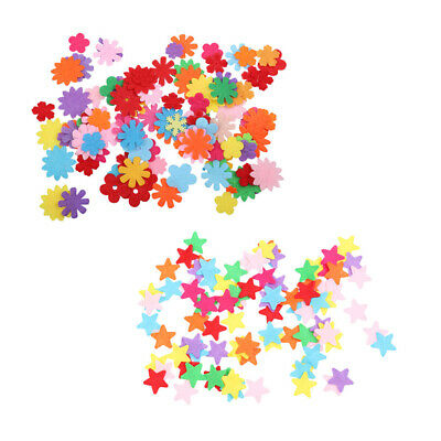 200pcs Mixed Colors Star & Flower Felt Shape Appliques DIY Craft Card Making