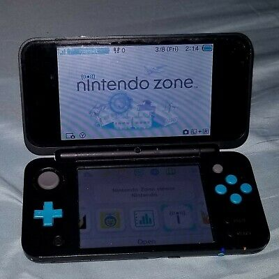 New Nintendo 2DS XL Black/Turquoise Handheld System-Used