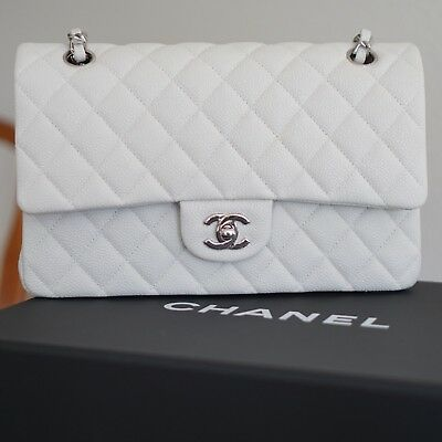 CHANEL Iridescent Caviar Quilted Medium Double Flap Off White Silver Hardware