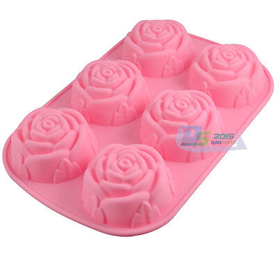 6 Rose Flower Soap Candles Mold Mould Silicone DIY Tool 6 Cavities