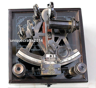 """Vintage Marine Royal Navy Sextant 4"""" With Wood Box Working Astrolabe Gift Decor."""