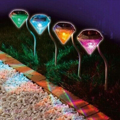4* Solar Diamond LED Spot Lights Stainless Steel Colorful Path Lawn Landscape