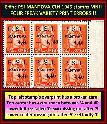 6 stamps PSI-MANTOVA 1945 CLN - two fine MNH and four RARE typeset freaks (#165)