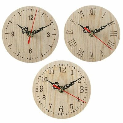 European And American Retro Round Wooden Small Clock Wall Clocks Vintage Charm