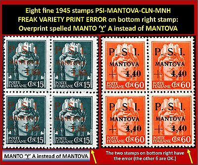 Eight stamps PSI-MANTOVA 1945 CLN - 6 fine MNH and 2 fine typeset freaks (#135)