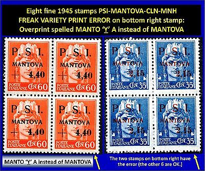 Eight stamps PSI-MANTOVA 1945 CLN - 5 fine MNH and 3 fine typeset freaks (#174)