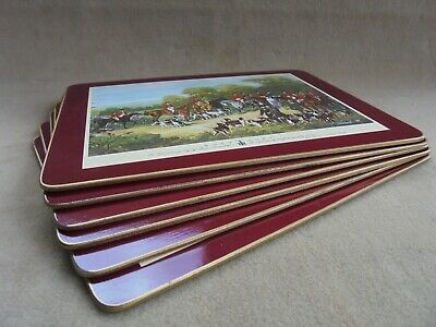 Clover Leaf Cork Table Place Mats Victorian Hunting Scenes