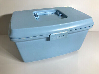 Vintage Singer Sewing Box Basket With Insert Tray Blue Retro 1970s