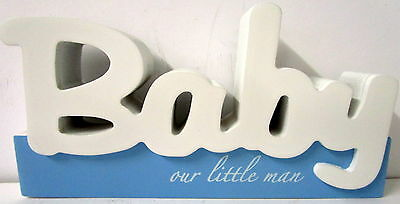 "Baby Keepsake ""Our Little Man"" Timber Table Top Sign Baby Shower Newborn Gift Bn"