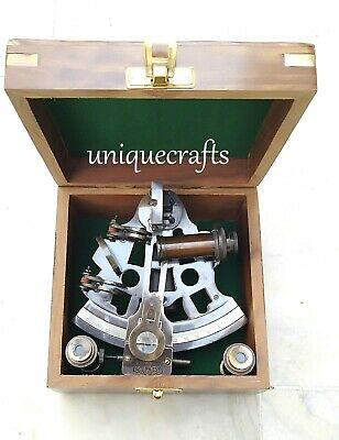 """Nautical Brass Sextant ~With Wooden Box London Antique Sextant Handmade Gift 4""""."""