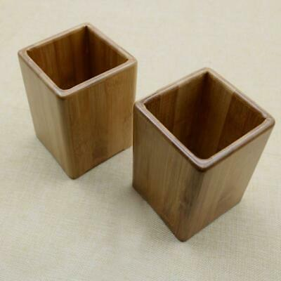 Bamboo Handmade Pen Pencil Holder Square Office Home Desk Stationery Organizer
