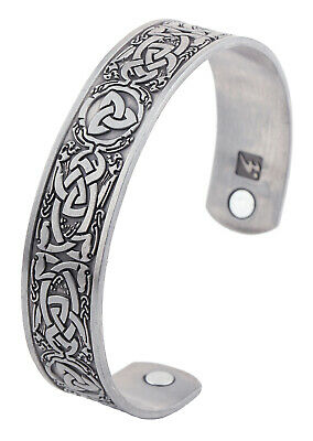Celtic Knotwork Trinity Magnetic Bracelet Viking Cuff Bangle for Men