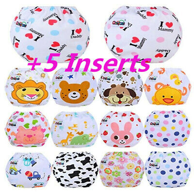 5PCS+5 Inserts Cloth Diapers Lot Nappies Reusable For Choice to Baby Newborn Hot