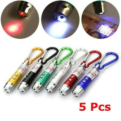 5 x 3in1 LED Light Pointer UV Mini Multifunction Torch Keychain Laser Flashlight
