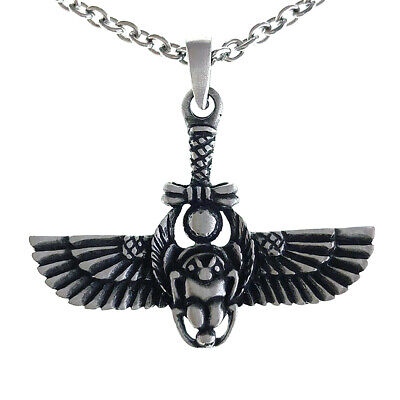 Egyptian Scarab Dung Beetle Amulet Pewter Pendant Stainless Steel Chain Necklace