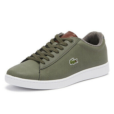 60289b166e41 Lacoste Carnaby EVO 318 2 Mens Khaki   Brown Trainers Lace Up Sport Casual  Shoes