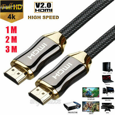 Premium Ultra HD Braided HDMI Cable v2.0 1M 2M 3M High Speed 4K 2160p 3D Lead