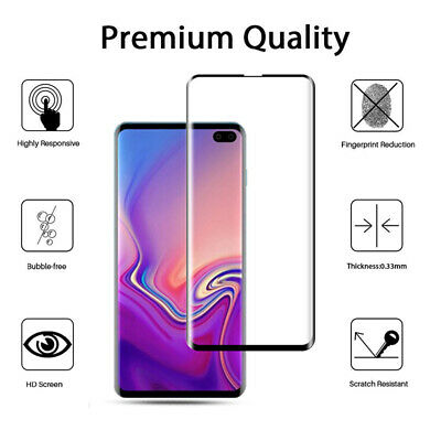 6D Full Cover Tempered Glass Screen Protector Guard For Samsung Galaxy S10 Plus