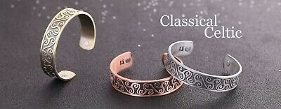 Celtic Knotwork Triskele Magnetic Bracelet Irish Cuff Bangle for Men