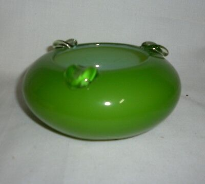 Retro Vintage Hand Blown Ashtray - Green - Perfect Cond.