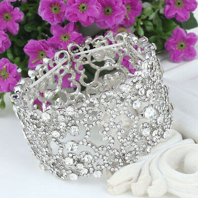 Art Deco Heart Flower Lace Stretch Bracelet Bangle Cuff Wedding Silver Plated