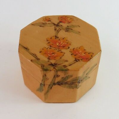 Vintage Chinese Hand Painted Lacquered Wooden Trinket Jewellery Ring Box, Floral
