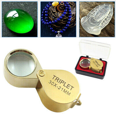30X 21mm Jeweler Loupe Loop Magnifier Pocket Magnifying Glass Eye Jewelry + Box