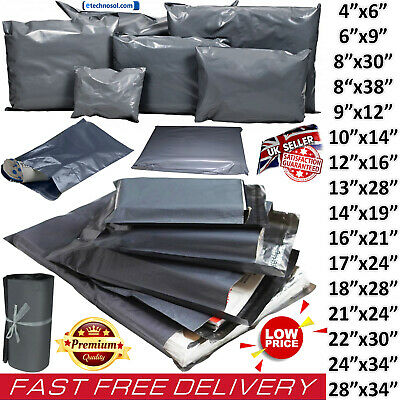 Strong Grey Plastic Mailing Bags Poly Postage Post Postal Self Seal All UK Sizes