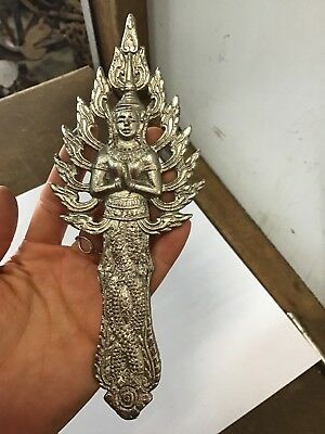 Vintage Buddha Statue Plaque Detailed Religious Silver coloured finish