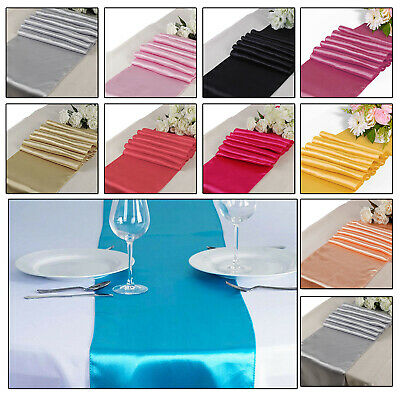 """1 - 100pcs 11""""  x 108"""" Satin Table Runners Chair Swags Wedding Party Decoration"""