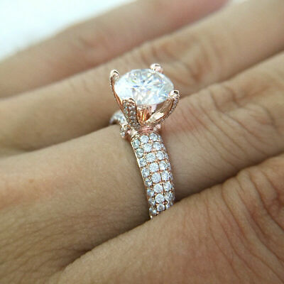 2.25Ct Round Brilliant Cut Diamond Solitaire Engagement Ring 10K Solid Rose Gold