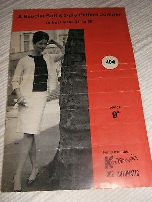 ORIGINAL VINTAGE  KNITMASTER, MACHINE KNITTING PATTERN, No.404 SUIT & JUMPER