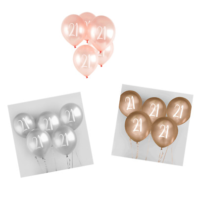 """12"""" Age 21 Latex Balloons 5pk 21st Birthday Party Decorations - Various Colours"""