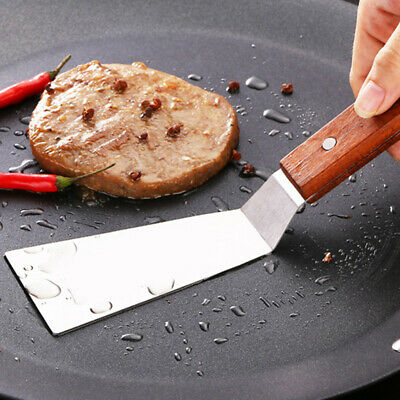 Shovel Flat Stainless Steel Spatula Kitchen Slice Wooden Handle Frying Tool CB
