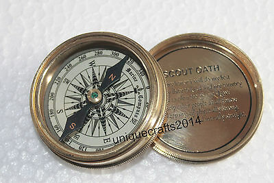 Handmade Solid Brass Scouts Poem Compass Nautical Marine Antique Gift