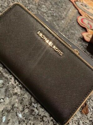 f0318c6512ac MICHAEL KORS SAFFIANO FRAME Zip Around Continental LEATHER Wallet~BLACK~NWT   148