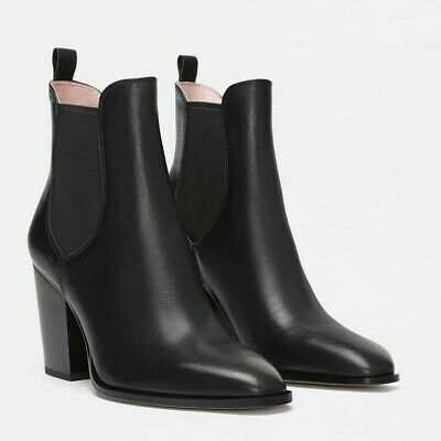 e1581095f5c Zara Woman New High-Heeled Leather Ankle Boots With Elastic Side Ref  5135