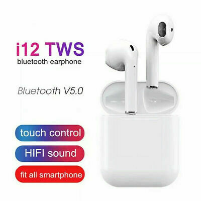 i12 TWS Bluetooth 5.0 Earphone Smart Touch Control Wireless Earbuds NEW