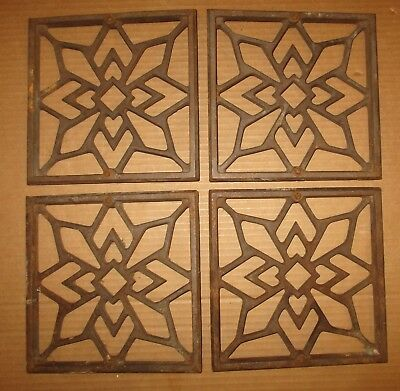 Antique Cast Iron Heating Grate Register Vents Floor/ Wall Lot Of4  Size 8X8