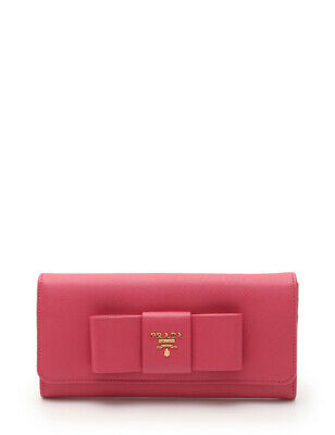 dec5561be65869 PRADA SAFFIANO FIOCCO Folded Long wallet leather pink ribbon with Pass  holder