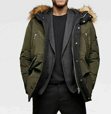 5d121d36 Zara Man New 2019 Quilted Parka With Hood Jacket Khaki Sale M 8281/385