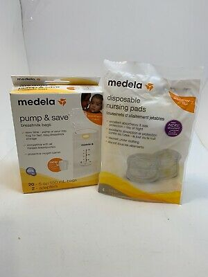 Medela Pump & Save Breastmilk Storage Bags 20 ct and nursing pads new