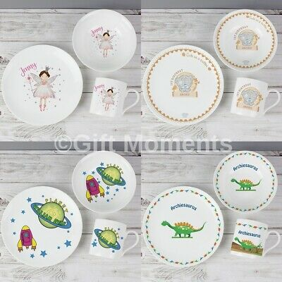Childrens Personalised 3-Piece Breakfast Sets - 32 Designs - Boys and Girls Name